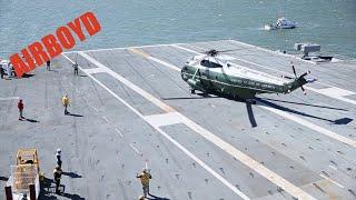 Marine One And HMX-1 Ospreys Land On Gerald R. Ford (CVN-78)