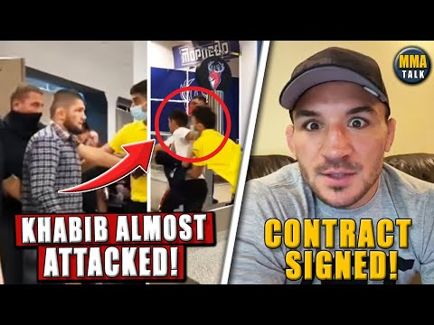 Footage of Khabib being almost ATT@CKED by a fan in Russia, Chandler signs for Gaethje fight,Woodley