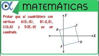 Probar que el cuadrilátero con vértices A, B, C y D es un cuadrado | Geometría analítica - Vitual