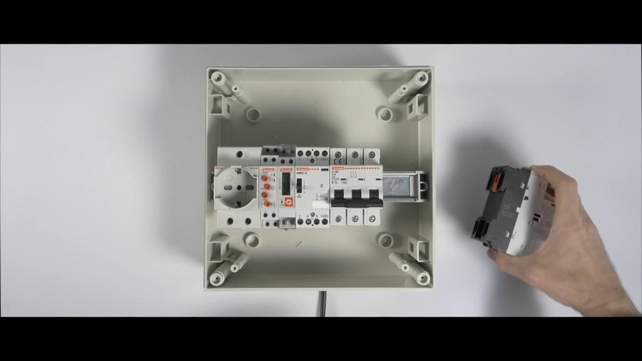 Schema Elettrico Contattore E Salvamotore : Montaggio in cassette modulari interruttori salvamotori serie