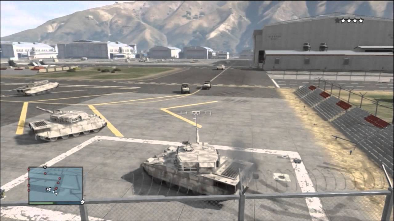 gta v how to get a tank out of the military base