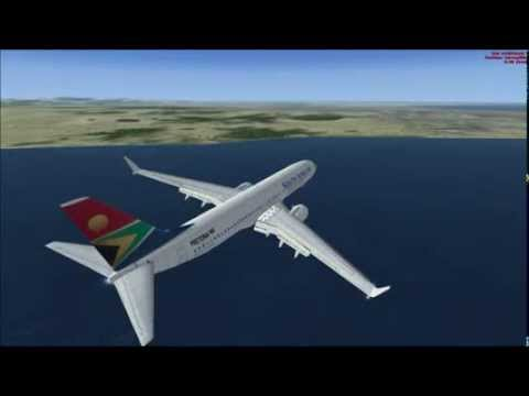 FSX BOEING 737 SOUTH AFRICAN PRETORIA AIRPORT TAKE OFF AT PORT ELIZABETH AIRPORT AND APPROACH