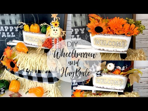 DOLLAR TREE DIY WHEELBARROW AND FAUX HAY BALE | FALL DECOR