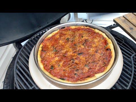 Kamado Deep Dish Pizza: Spinach, Garlic, & Black Olive