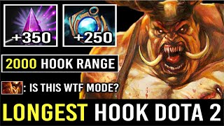 THE LONGEST HOOK IN DOTA 2!!! Seer Stone Pudge 2000 Cast Range Hook Most Crazy Max Range 7.24 Dota 2