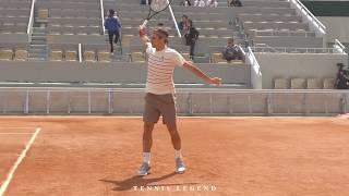 Roland-Garros 2019 : Federer - Schwartzman practice (Court level view from every angles)