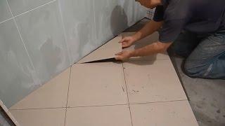 Укладка плитки по диагонали ч.2(В этой части подробно показан сам процесс и некоторые нюансы укладки плитки по диагонали,в ванной комнате...., 2015-04-07T16:30:04.000Z)