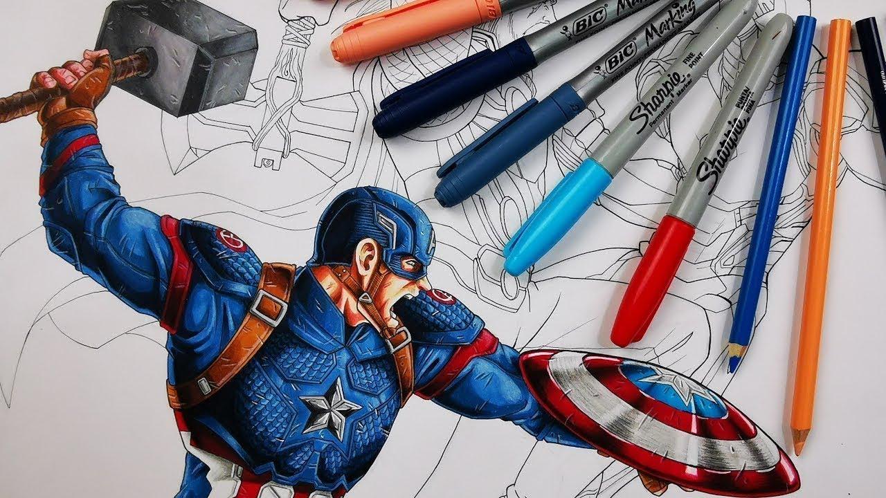 Como Dibujar Al Capitán América Con El Mjolnir Avengers End Game Materiales Baratos Dibujame Un