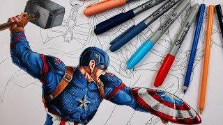 COMO DIBUJAR AL CAPITÁN AMÉRICA con el MJOLNIR Avengers End Game. Materiales Baratos | DibujAme Un