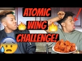EXTREME ATOMIC WING CHALLENGE!!🔥👅(MUST WATCH!)    ft LAURENCE EVANS