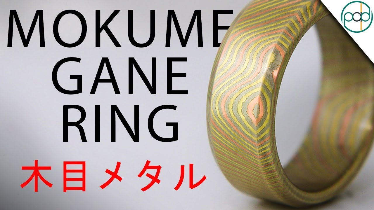and gane pin band white shakudo edges etsy with rings mokume rose via wide gold