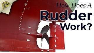 A rudder steers a ship by generating areas of high and low pressure...