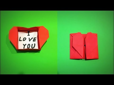 How to Make a Paper Envelope Box with a Heart Valentine's Day Gift DIY - Easy Origami
