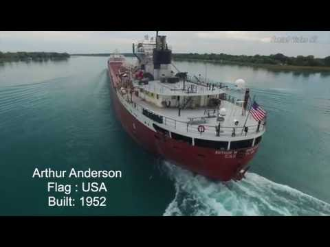 Arthur Anderson Freighter Harsens Island Drone Aerial Great Lakes