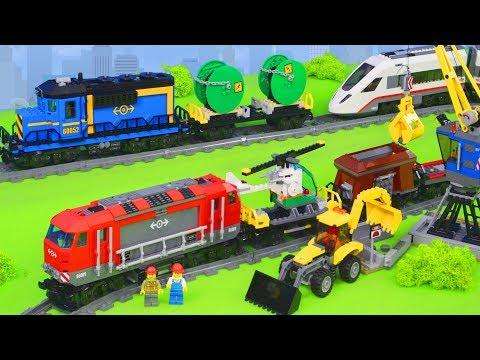LEGO City Zug, Spielzeugautos, Bagger, Lastwagen & Kran | Züge Unboxing für Kinder