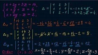 Решение системы трех уравнений по формулам Крамера