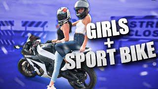 Hot Girls Ride Sport Bike!   Behind the Scenes