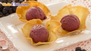 Concord Grape Ice Cream In Tuile Cups - Recipe