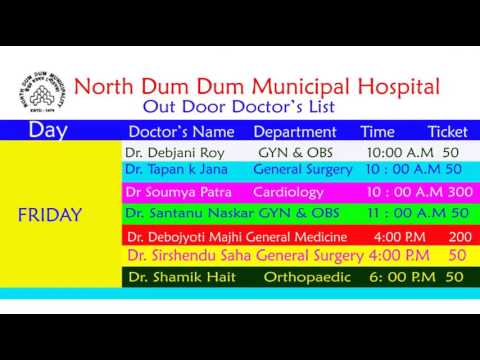 North Dum Dum Municipal Hospital Outdoor Doctor's List