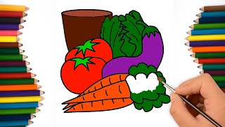 How to Draw Vegetables, Drawing & Coloring For Kids | Colouring Pages Vegetables