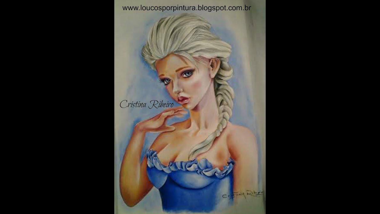 Pintando a princesa elza pintura em tecido com cristina - Telas para sombra ...