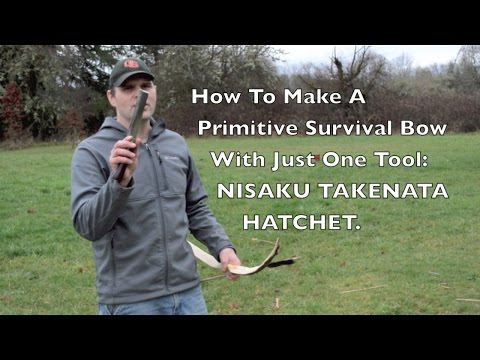 Takenata Hatchet. Making a Primitive Archery Survival Bow With Just One Tool.