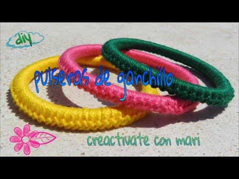 Diy como hacer pulseras de crochet o ganchillo fáciles, con tubos de plástico , YouTube