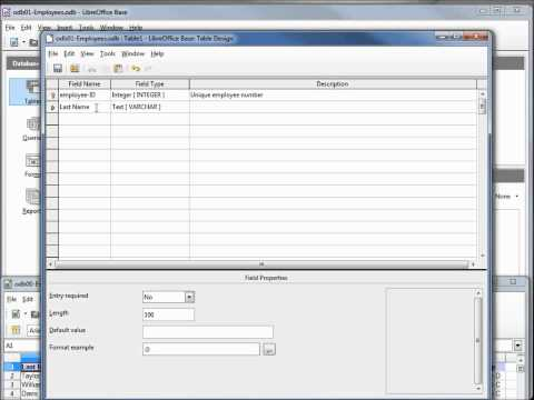 LibreOffice Base (01) Create A Database, Create A Table