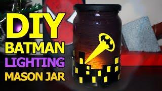 How to Make BATMAN Lighting Painted Mason Jar - DIY Kids Crafts Room Decor Ideas 2017