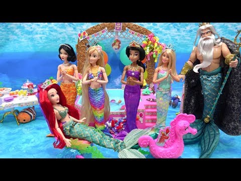 mermaid-ariel-surprise-birthday-barbie-prep-party-with-princesses-makeup---pool---cake---presents