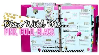 Plan With Me // Pink, Gold, Black Layout For Your Planner // villabeauTIFFul