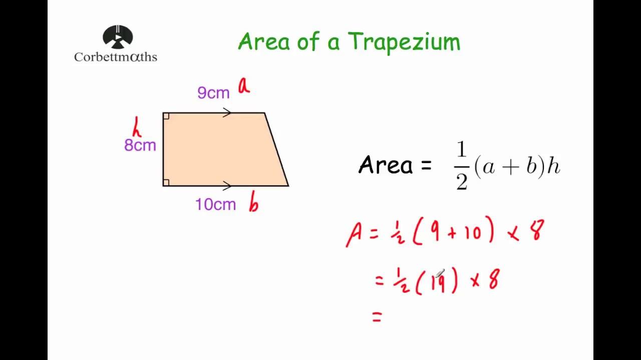 Area of a Trapezium - Corbettmaths