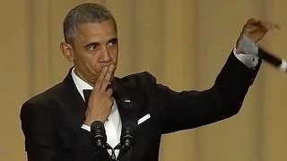 president obama impersonates kobe bryant at correspondents dinner says obama out with mic drop