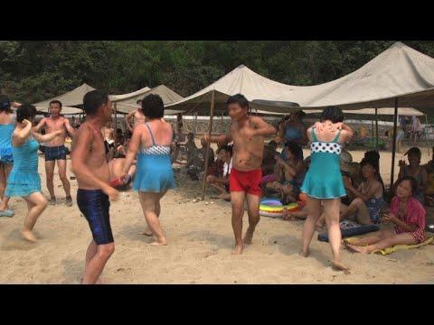 Shellfish, fire and Party praise: beach breaks, N. Korea style