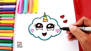 Cómo dibujar una NUBE UNICORNIO | How to draw a cute unicorn cloud - 2