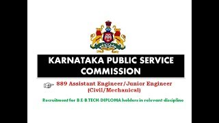 889 posts of ae je civil mechanical   kpsc recruitment 2017
