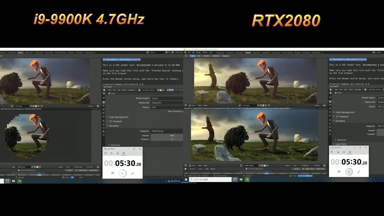 blender-benchmark i9-9900K VS RTX2080 - YouTube
