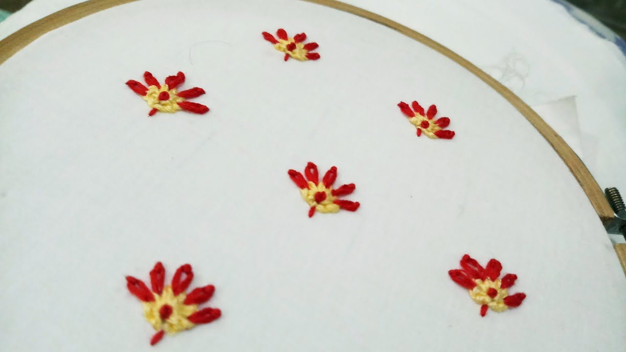 Hand embroidery tutorial of little flowers allover on any dress