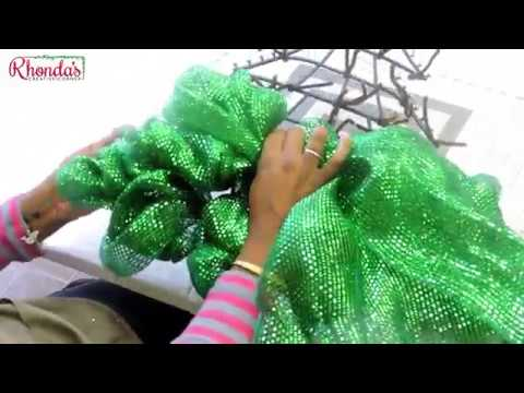 HOW TO MAKE A DECO MESH CHRISTMAS TREE USING WALMART AND DOLLAR TREE MATERIALS