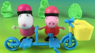 Play Doh Peppa Pig - bicycling together - Peppa Pig and Suzy Sheep Toys