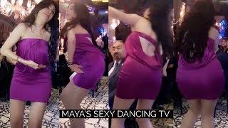 الراقصة دينا استعراض سكسي بفستان سهرة بنفسجي قصير
