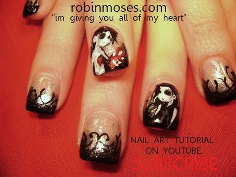 Gothic Valentine Nail Art Tutorial | I Give you my Heart Nails Design