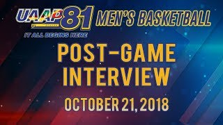 UAAP 81 MB: Post-game Interview | October 21, 2018
