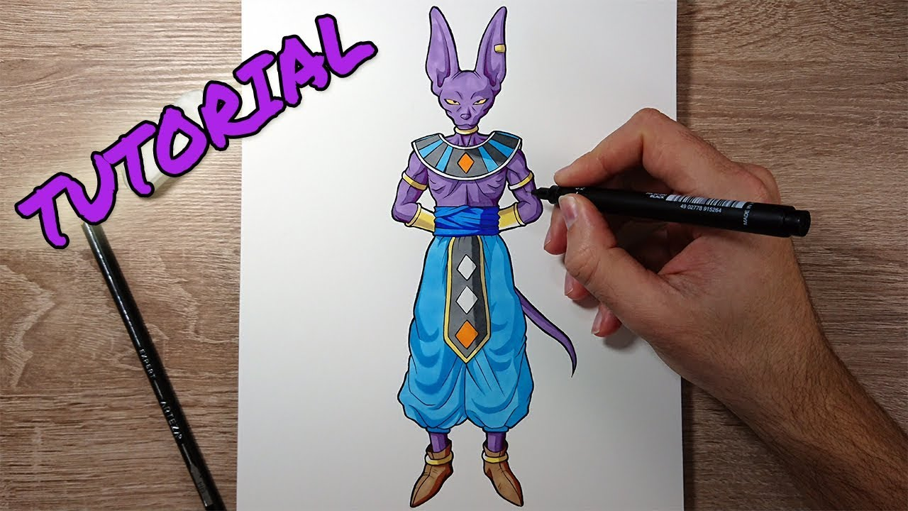 How To Draw Beerus Tutorial Dragonball Art Youtube