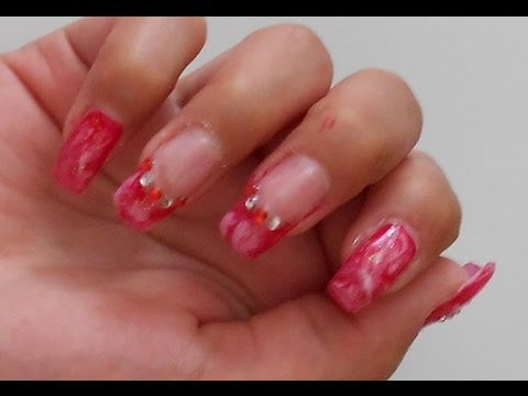 Nails Art Sweet Candy Tutorial marble effect con uv gel ...