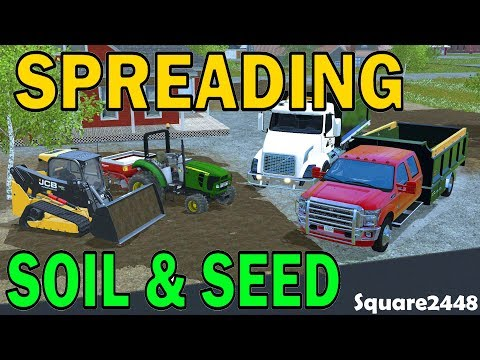 Farming Simulator 17 - Spreading Soil & Grass Seed - Landscaping - Tracked Skidsteer - Dump Trucks