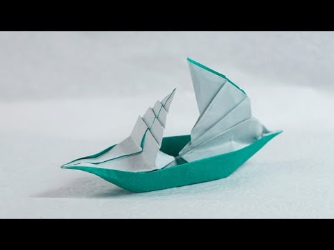 Paper Boat that Floats on Water - Origami Sailing Boat Tutorial (Henry Phạm)