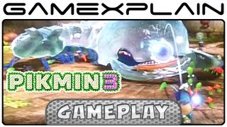 Pikmin 3 - Armored Mawdad Boss Fight in Garden of Hope Part 1 - Gameplay Footage