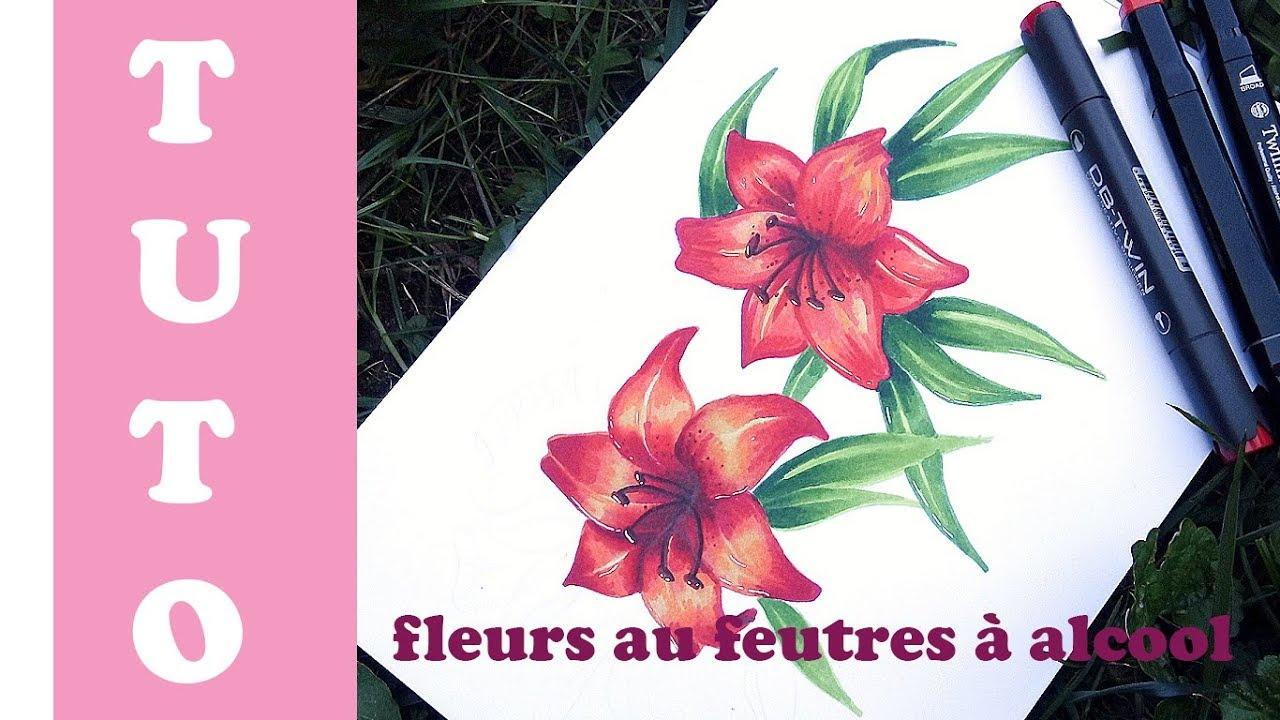 Tuto comment dessiner des fleurs aux feutres alcool - Fleurs a dessiner modele ...