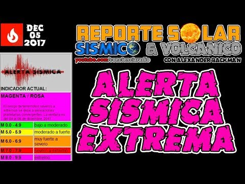 (((ALERTA SÍSMICA EXTREMA))) VENTANA DE LA ALERTA: DICIEMBRE 05 A 09, 2017